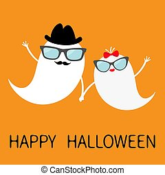 Happy Halloween. Ghost spirit family set with lips, mustaches eyeglasses, hands, hat, bow. Scary white ghosts. Cute cartoon character. Spooky face Orange background. Greeting card Flat design.