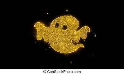 Happy Halloween Ghost Written with Golden Particles Sparks...