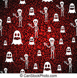 Happy Halloween ghosts and skeletons seamless pattern background. EPS10 Vector file organized in layers for easy editing.