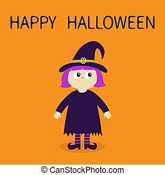 Happy Halloween. Girl wearing Witch costume curl hat. Cartoon funny spooky baby magic character. Flat design. Cute head face. Greeting card. Orange background. Isolated.