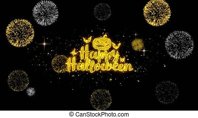Happy Halloween Golden Text Blinking Particles with Golden Fireworks Display 1