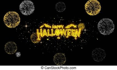 Happy Halloween Golden Text Blinking Particles with Golden...