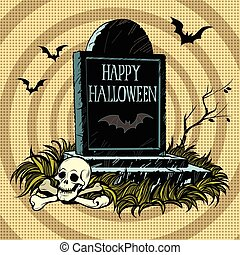 Happy Halloween grave tombstone cemetery skull and bones