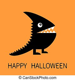 Happy Halloween greeting card. Black silhouette monster with sharp tail, horn, fang tooth, eye. Cute cartoon funny character. Baby collection. Flat design. Orange background. Isolated