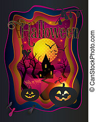 Happy Halloween greeting card cutting paper style