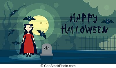 Happy Halloween Greeting Card Dracula Vampire At Night On Cemetery Graveyard Banner