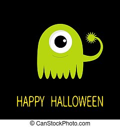 Happy Halloween greeting card. Green monster with big eye and tail. Funny Cute cartoon character. Baby collection. Flat design. Black background.