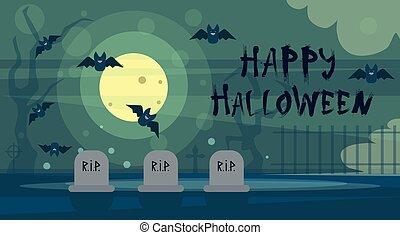 Happy Halloween Greeting Card Night On Cemetery Graveyard Banner