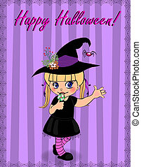 Happy Halloween greeting card of little cute naughty baby girl in witch dress