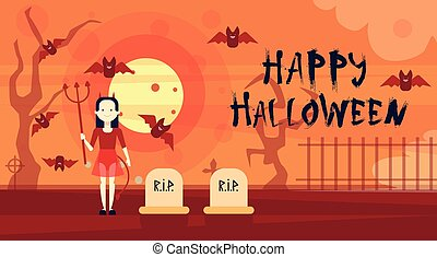 Happy Halloween Greeting Card Vampire At Night On Cemetery Graveyard Banner
