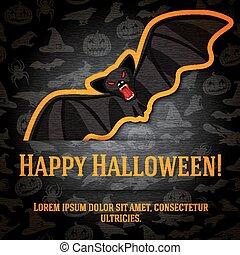 Happy halloween greeting card with black bat sticker.
