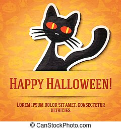 Happy halloween greeting card with black cat sticker cut from the paper.