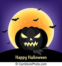 Happy Halloween greeting card with  black pumpkin  and  moon.