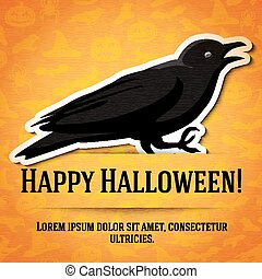 Happy halloween greeting card with black raven sticker cut from the paper.
