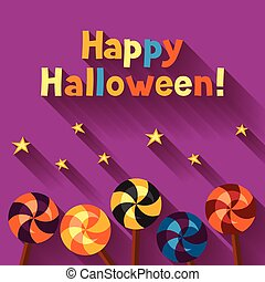 Happy halloween greeting card with candy lolipop.