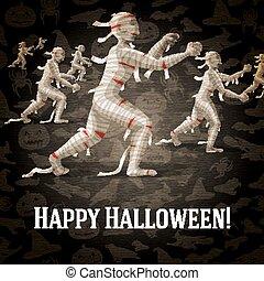 Happy halloween greeting card with walking mummies fading to...