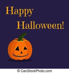 Happy Halloween greeting card with cute holiday character orange pumpkin jack lamp