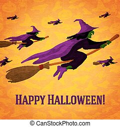 Happy halloween greeting card with horde of witches flying on the brooms.