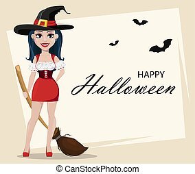 Happy Halloween. Greeting card with sexy witch