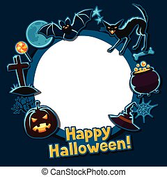 Happy halloween greeting card with stickers characters and objects