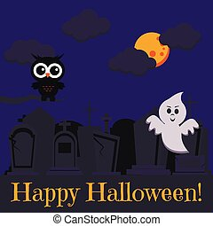 Happy Halloween greeting card with two cute characters black owl on dry branch and ghost flying near cemetery.