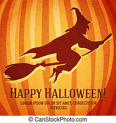 Happy halloween greeting card with witch carved in pumpkin.