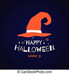 Happy Halloween greeting card with witch hat and text.