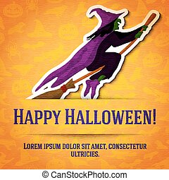Happy halloween greeting card with witch on broom sticker cut from the paper.
