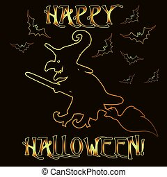 Happy Halloween greeting card with witch  , vector illustration