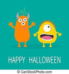 Happy Halloween greeting card. Yellow and orange monster with one eye, teeth, tongue. Funny Cute cartoon character. Baby collection. Flat design. Green background.
