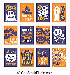 Happy halloween greeting cards set color on background with skull, pumpkin, spider, bat