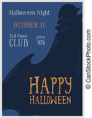 Happy Halloween greeting promo poster with place for text vector illustration. Announcement of costume night party at 31 october with vampire silhouette. Colorful invitation to festive event