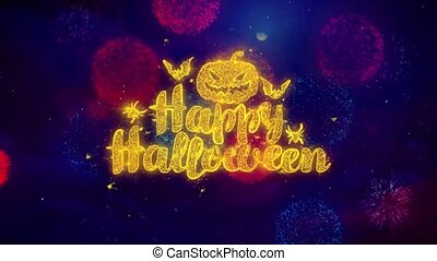 Happy Halloween Greeting Text Sparkle Particles on Colored Fireworks 1