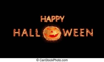 Happy Halloween greeting text with particles and sparks isolated on black background