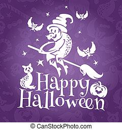 Happy Halloween greeting vector card