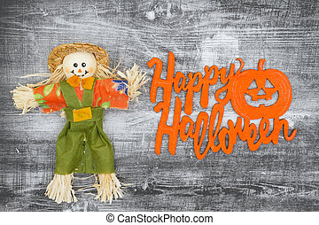 Happy Halloween greeting with fall scarecrows