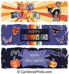 Happy Halloween grungy retro horizontal banners.
