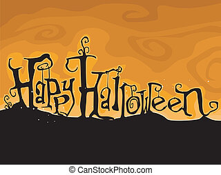 Halloween Greetings Written in Creepy Font