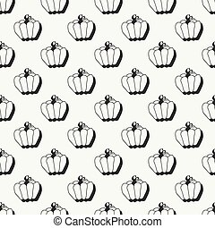 Happy Halloween. Hand drawn seamless pattern with pumpkin. Trick or treat. Wrapping paper. Scrapbook paper. Doodles style. Tiling. Vector illustration. Background. Stylish ink graphic texture.