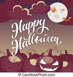 Happy Halloween hand written text. Vector illustration.