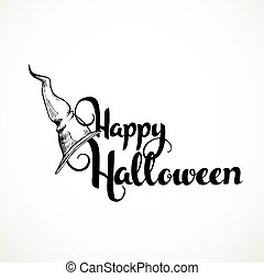 Happy Halloween handmade inscription sign in witch hat