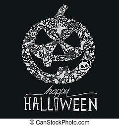 Happy Halloween vector Jack O Lantern. Seasonal halloween elements for design. Vector Illustration.