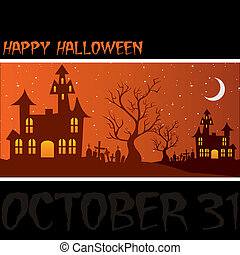 "Happy Halloween! - Haunted house ""Happy Halloween"" card in..."