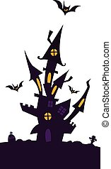 Happy Halloween haunted house isolated on a white background