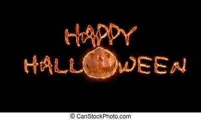 Happy Halloween haunted pumpkin background. Black background...