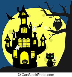 Happy Halloween. Helluinsky black cat sits next to the house of the witch. A tree, an owl, flying vampires, spiders, ghosts and a full moon at night.
