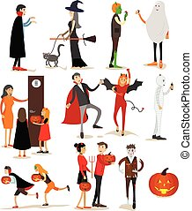 Happy halloween holiday party characters isolated on white background. Vector illustration in flat style. Design elements and icons