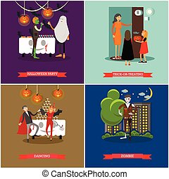 Happy halloween holiday party concept posters. Vector illustration in flat style design
