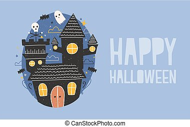 Happy Halloween horizontal holiday banner with gloomy haunted castle, funny ghosts and bats flying against dark starry night sky on background. Creepy cartoon scene. Festive vector illustration.