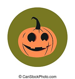 happy halloween, horror face pumpkin trick or treat party celebration flat and block icon